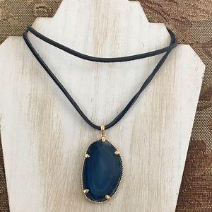 NWT. GENUINE blue agate slice necklace